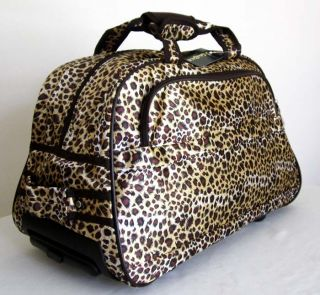 19 Duffel Tote Bag Rolling Luggage Case Wheel Purse Brown Yellow