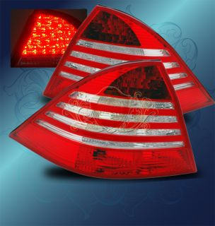 00 05 Mercedes Benz W220 s Class LED Red Clear Tail Lights Left Right