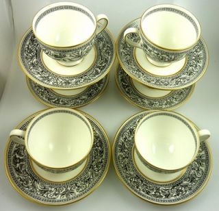 Black White Wedgwood Florentine China Dinnerware W4312 Gold Rim