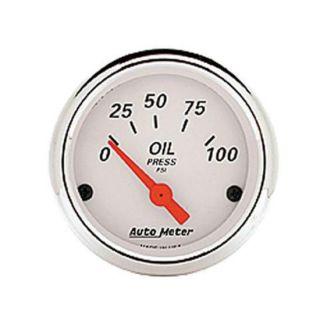 New Auto Meter Artic White Series Electric Oil Pressure Gauge, 2 1/16