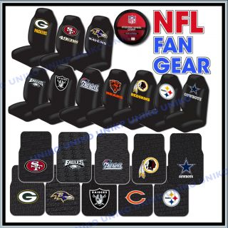 NFL Seat Covers Pair Steering Wheel Rubber Floor Mats 5pc Car Interior