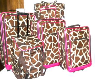 American Flyer Luggage Girrafe Print 5 Piece Luggage Set Brown Tan