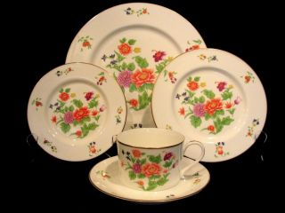 40 Pcs Imperial Flowers Bone China by Tiffany & Co (8) 5 piece place