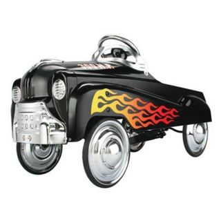 New Black Flamed Hot Rod Pedal Car w Chrome Steering Wheel Hub Caps
