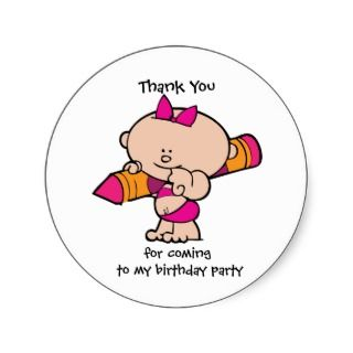 Thank You Crayon Birthday Party Gift Tag Sticker