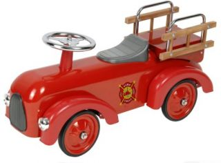 New Childs Classic Vintage Red Fire Engine Race Car Ride on Push Along