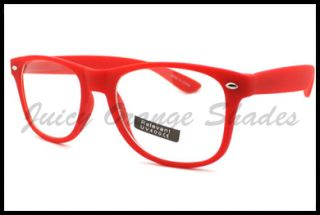 Nerdy Retro 80s Old School Classic Clear Lens Eyeglasses Matte Red