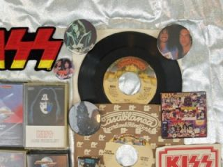 Lot 21 Vintage Kiss Rock Collectibles Big Kiss Patch Tapes Stickers
