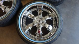 New Lexani LX 704 Chrome 20 Wheels Rims Vogue White Wall Tires 20x8 5