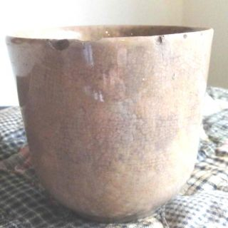 18th C Antique Early Colonial Pottery Sponge Crock Spongeware