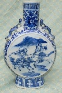 Antique Chinese Blue White Moon Flask Vase Warriors