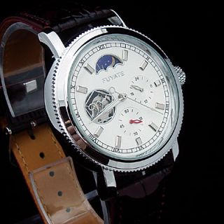 Moonphase Day Night Mens Automatic Mechanical White 5 Hands Light 12