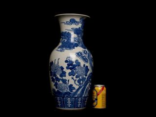 Large Chinese Antique Blue and White Porcelain Vase Phenix Design L123