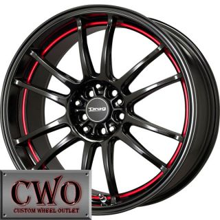 17 Black Drag Dr 38 Wheels Rim 5x100 5x114 3 5 Lug Eclipse Jetta Golf
