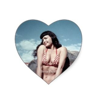 Bettie Page Vintage Pinup Girl in Red Bikini Heart Stickers