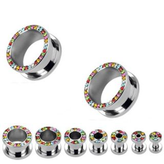Pair of Rainbow CZ Gem Gemmed Rims Screw Fit Hollow Ear Plugs Steel