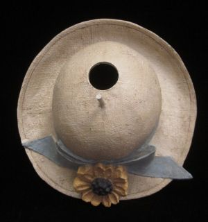 You are bidding on a DESIGNER Tan Blue Yellow Ceramic Summer Hat Bird
