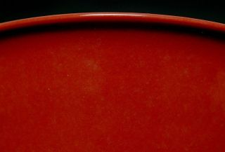 Large Antique Chinese Ming Porcelain Red Glazed Bowl Signed 2135