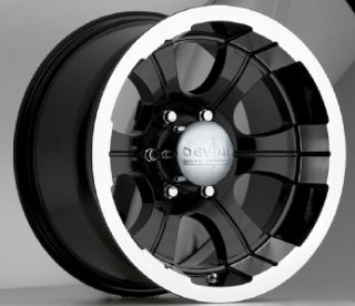 15 inch Devino 349 Black Wheel Rims 5x4 5 Jeep Wrangler