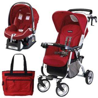 Peg Perego Vela Easy Drive Stroller Geranium Red Travel System