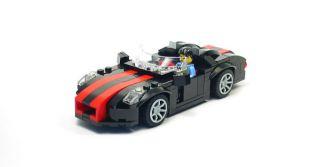Lego Custom Black Sports Car w Red City Town 10211 8402 10182 10197