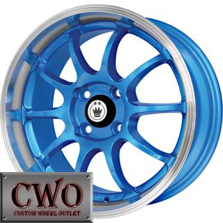 15 Blue Konig Lightning Wheels Rims 4x100 4 Lug Civic Mini G5 Cobalt