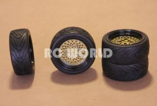 RC 1 10 Car Tires Wheels Rims Package Tamiya HPI Trans Am Gold Mesh