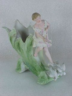 Antique German Porcelain Bisque Figural Vase Girl Riding Flower Cart