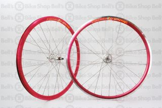 Weinmann DP18 Deep V Track Wheels Red Ano Fixed Gear
