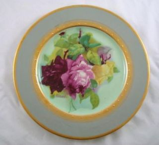 Antique Porcelain Floral Gold Gilded German Plate Roses Ullrich Gray