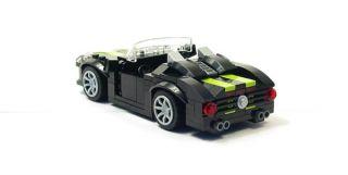 Lego Custom Black Sports Car w Lime City Town 10218 10211 8402 7498