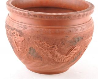 Antique Tokoname Sueyaki Japanese Red Clay Dragon Jar