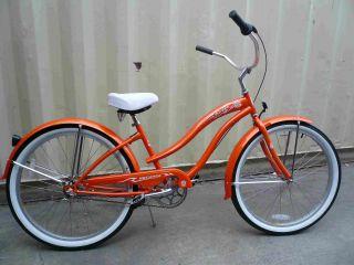26 3 Speed Beach Cruiser Bicycle Bike Rover Lady Orange