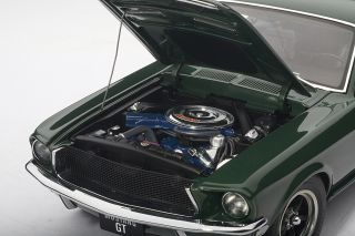 72812 1 18 1968 Ford Mustang GT 390 Green Diecast Model Car
