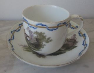 Four Antique Meissen Porcelain Sheep Cups and A Saucer