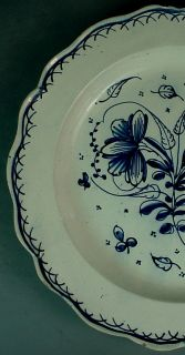 White Delft Pottery Plate w Scalloped Rim Floral Decoration
