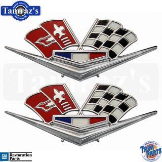 62 63 Chevy Impala Corvette Cross Flag Fender Emblems