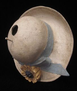 Designer Tan Blue Yellow Ceramic Summer Hat Bird House