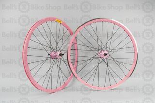Velocity Deep V Track Wheels Pink Black Front Machined Origin8 Hubs