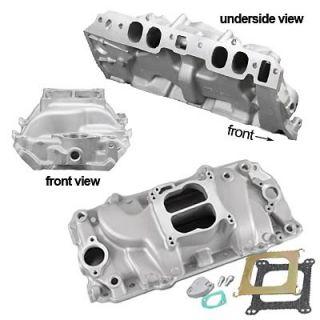 226022 Intake Manifold, Stage 1, Dual Plane, Aluminum, Natural, Square