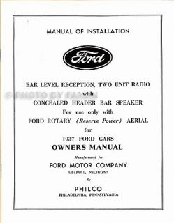 1937 Ford Radio Installation and Owners Manual 37