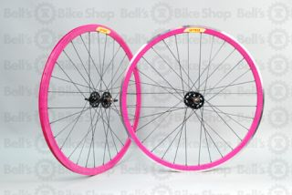 Velocity Deep V Track Wheels Cerise Pink Black Front Machined 700c New