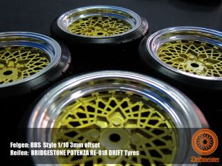 RC 1 10 BBs Gold Drift Wheel Rim with Tyres Yokomo Tamiya HPI CS 3mm