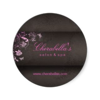 Salon spa butterfly sticker pink brown