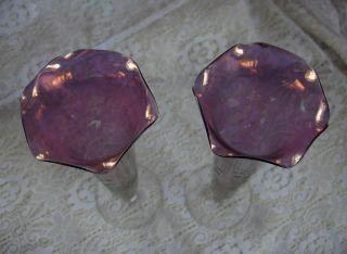Vintage PR Amethyst Purple Bud Vases Bohemian Art Glass