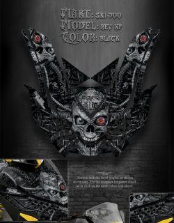 Ski Doo XP Rev MXZ Wrap 08 12 Machinehead Hood Graphics Black Summit