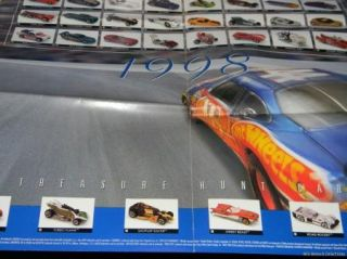 Hot Wheels Race Hard Finish First 1998 Poster Treasure Hunt Mystery