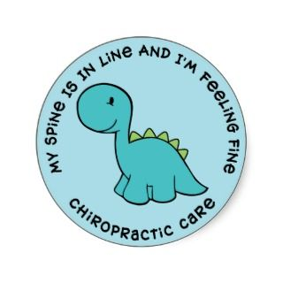 My Spine Is In Line Dinosaur Chiropractic Stickers