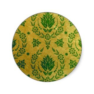 Daisy Damask, Brushed Metal in Green and Gold Round Stickers