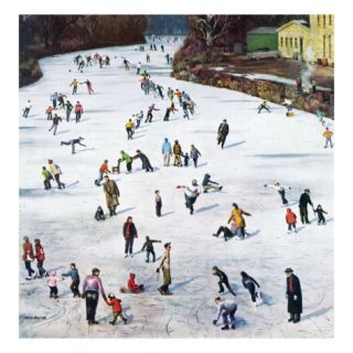 Fox River Ice Skating, January 11, 1958 Giclee Print by John Falter